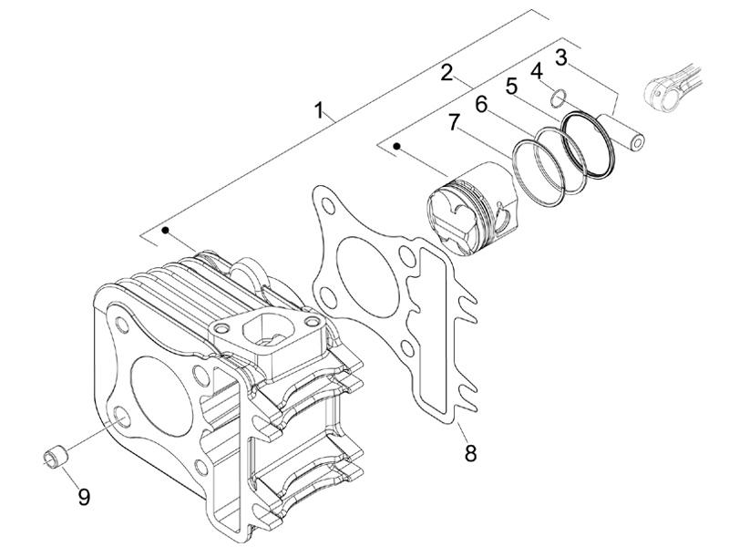 Cylinder-piston-wrist pin unit