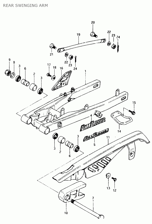 suzuki ts 50 x achterbrug - onderdelen op tekening