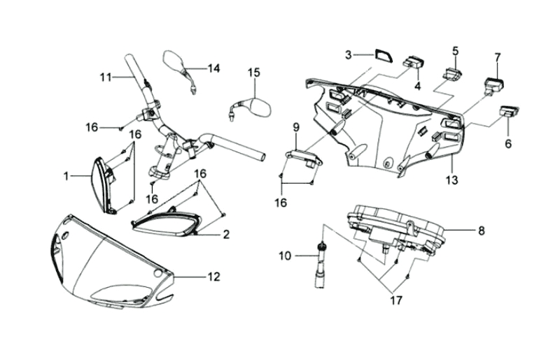 14.STEERING HANDLE , HANDLE COVER