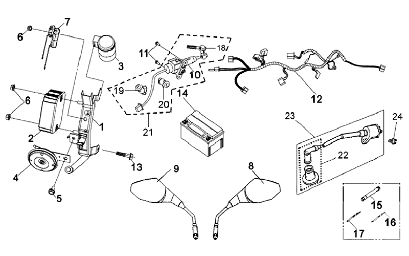 24.BACK MIRROR ASSY, WIRE HARNESS