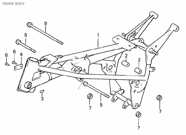 Honda MT 50 Frame - Onderdelen op tekening - MT 50 - Honda ...