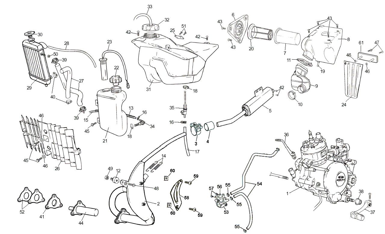 Benzinetank, Olietank & Uitlaat