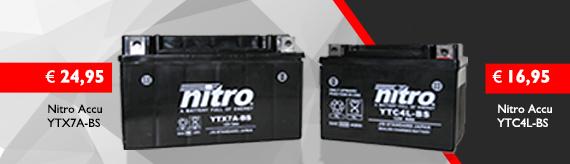 Nitro accu's voor de meeste 2-takt en 4-takt scooters & brommers ytc4l-bs en ytx7a-bs!